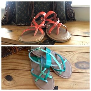 Strappy Sandals (Green and red size 8.5)